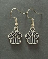Tibetan Silver Paw Print Charm Dangle Earrings - 15mm - New - UK Seller