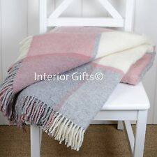 Pure New Wool DUSKY PINK & SILVER GREY MULTI CHECK THROW *BEAUTIFUL* Blanket Rug