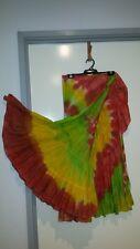 Summer TyeDye Rayon Frill edge wrap around Skirt Green,Yellow,Orange Long 12-14