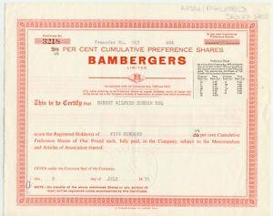 UNITED KINGDOM, 1975, BAMBERGERS Ltd., London, Zertifikat über 500 Vorzugsaktien