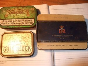 Player's Medium Navy Cut Cigarettes 1953 Coronation tin & 2 others