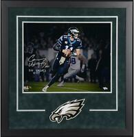 Carson Wentz Eagles Dlx Frmd Signed 16x20 Photo & Fly Eagles Fly Insc - SM LE 11