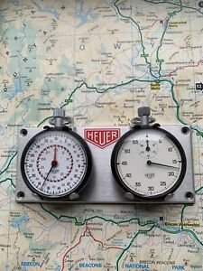 Two Heuer Stopwatches (with faults) mounted on a Dashboard Rally Timer Panel