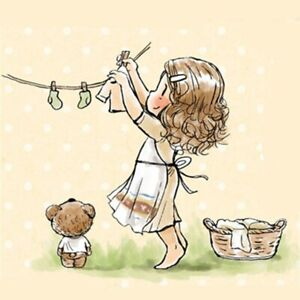 Girl Hanging Clothes Rubber Silicone Clear Stamps Scrapbooking Transparents