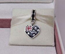 New w/Box & Tags Pandora Australia Flag Heart Enamel Dangle Charm 791415ENMX