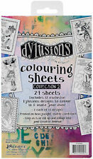 """Dyan Reaveley's Dylusions Coloring Sheets #2 5""""X8""""-2 Each Of 12 Designs"""
