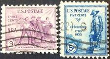 1933 3c & 5c commemoratives, Scott #732/734, Used, Fine