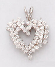 Heart Necklace Pendant Bright Silver Rhodium Plated Clear  simulated Diamond