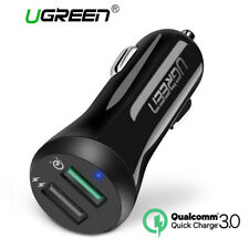 UGREEN Fast Car Charger Adapter 30W 5.4A Dual USB QC 3.0 for iPhone 8 X Samsung