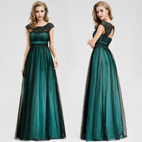 Ever-Pretty Retro Lace Round Neck Long Evening Party Dress Bridesmaid Prom Gowns