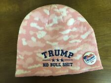 TRUMP NO BULL $HIT CAMO EMBROIDERED  BEANIE  PINK WITH   FREE CAMPAIGN BUTTON
