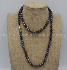 Genuine Handmade 7-8mm Natural Black Baroque Pearl Necklace Silver Clasp 14-36''