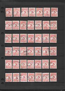 Stamps Australia Bulk 1d Red Kangaroo x 42 Good Used/Fine Used