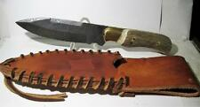 """Quality Handmade Damascus Steel 10"""" Stag Handle Fixed Blade Knife Leather Sheath"""