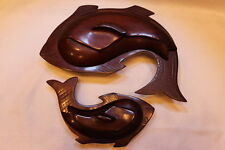 Hand Carved Set of 2 Wood Serving Bowls with Lids Fish Shaped Nautical Luau