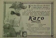 1910 Karo Corn Syrup Vintage Women's Hat Art Kitchen Collectible Trade Print Ad