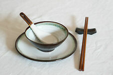 5 Pieces Japanese Dining Set - Brown and White