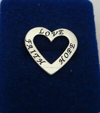 Sterling Silver 21x23mm Heart Affirmation Love Hope Faith Charm