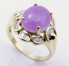 Vintage Lavender Chalcedony w/Diamond Ring,Size8.5-14K Yellow Gold