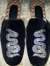 Gucci Lawrence Crystal-Embroidered Velvet Slippers Size 9