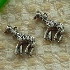 free ship 87 pcs tibetan silver giraffe charms 24x18mm #3850