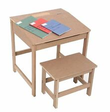 Children's School Study Desk and Stool, MDF, Natural (for kids 3-8 years old)