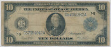 USA FEDERAL RESERVE NOTE 10 DOLLARS 1913 G57954842A  - VG