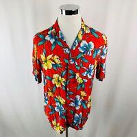 Vintage Island Image Hawaiian Aloha Rainbow Floral Rayon Shirt Men's Large L