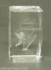 3-D Cherub playing Harp  - Glass Crystal Paperweight - Laser Etched
