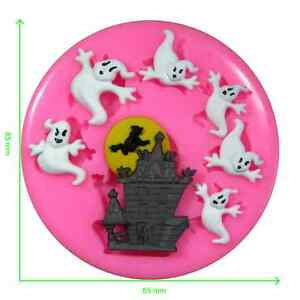 Haunted House & Ghost Halloween Silicone Mould by Fairie Blessings