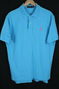 Polo Ralph Lauren Mens sz XL Light Blue Mesh Short Sleeve Shirt Pink Pony