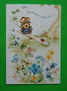 RARE Mary Hamilton Mouse & Ladybug on Seesaw Greeting Card Hallmark NOS