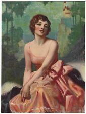 Vintage 1930s Romantic Art Deco Lovely Pin-Up Bradshaw Crandell Litho Print Rare