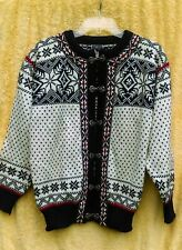 DALE NORWAY White Blue Red Wool Nordic Cardigan Sweater Pewter Clasp Ribbon S 40