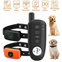 Electric Pet Shock Remote Training Collar Waterproof IP67 Rechargeable for 2 Dog