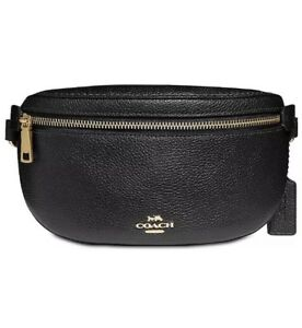 ❤️Coach Pebble Fanny 39939 Black/ Gold Belt Leather Pack