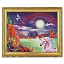 New ListingUnicorn Dreams Oil Painting, Pietro Ramirez, Pegasus, Mythical,Surreal Landscape