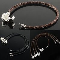 Black /Coffee Braided Leather European Twist Bracelet Fit Big Hole Charm Beads