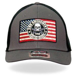 2nd Second Amendment American Flag USA Patriotic Skull Trucker Hat GSH1022