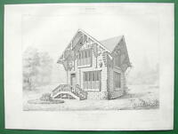 ARCHITECTURE PRINT: Tyrol Wood Timber Cottage 1867 Exposition