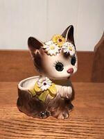 "Vintage Inarco Cat Kitten Planter Spring Garden Daisy Garden Yellow Ribbon 7"""