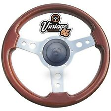 Vintage Warehouse Classic Wooden Polished Semi Dished Steering Wheel & Boss Kit