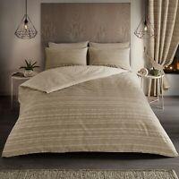 Reversible Seb Geo Stripe Natural Double Duvet Quilt Cover Bedding Bed Linen Set