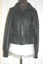 BLACK Womens Faux Leather Cuir PU JACKET Size uk12 eu40 us8 Chest c35ins c89cms