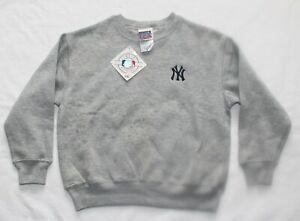 NEW vtg 90s New York Yankees Sweatshirt Crewneck NY Gray Baseball Youth Medium M