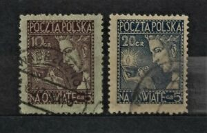 POLAND - 1927 Educational Enlightenment Fund Set of 2 - USED
