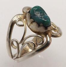 925 STERLING SILVER MOTTLED TURQUOISE NUGGET NATIVE STYLE RING SIZE 5 RT5