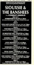 14/2/81pgn05 Advert: Siouxsie & The Banshees Live Tour Dates Feb/mar'81 6x3""