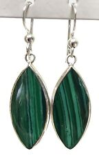 3.6gram SOLID Sterling Silver 925 Genuine Malachite Marquise Dangle Earrings