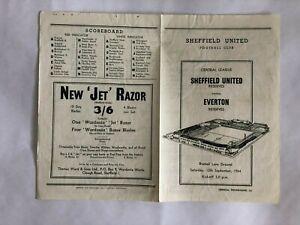 Sheffield United Reserves v Everton Reserves 12th September 1964